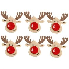 Set of 6 Felt Reindeer Christmas Pegs