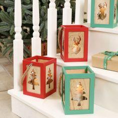 Festive Wooden Candle Lanterns