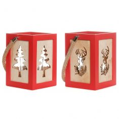 Set of 2 Red Christmas Tree and Stag Lanterns