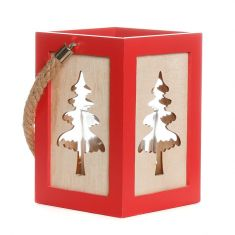 Red Wooden Christmas Tree Candle Lantern