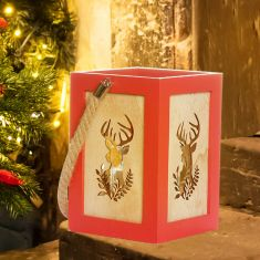 Red Wooden Stag Christmas Candle Lantern