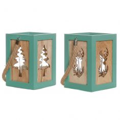 Set of 2 Peppermint Christmas Tree and Stag Lanterns