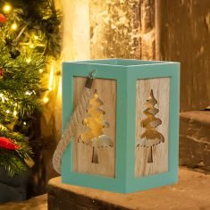 Wooden Christmas Tree Candle Lantern