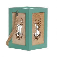 Wooden Stag Christmas Candle Lantern