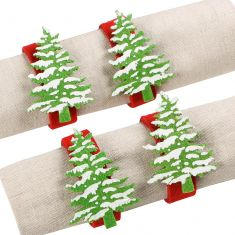 Set of 4 Snowy Christmas Tree Napkin Rings
