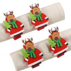 Set of 4 Felt Reindeer Napkin Rings