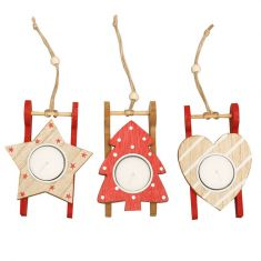 Assorted Set of 3 Red Wooden Sledge Tealight Holders
