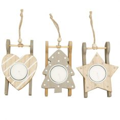 Assorted Set of 3 Grey Wooden Sledge Tealight Holders