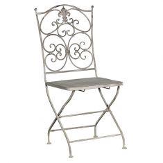 Grey Scrolled Metal Folding Chair