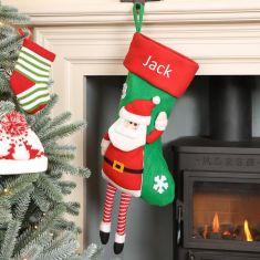 Personalised Dangling Legs Santa Christmas Stocking