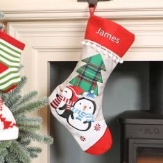 Personalised Jute Penguin Friends Christmas Stocking