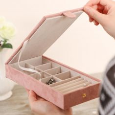 Large Suede Pink Jewellery Box
