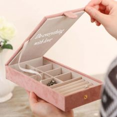 Personalised Large Suede Pink Jewellery Box