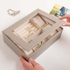 Personalised Grey Jewellery Box and Watch Store