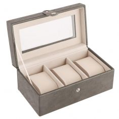 Three Section Slate Grey Watch Box