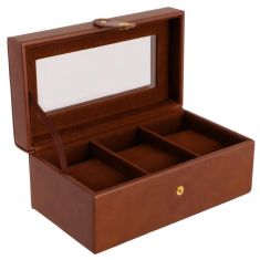 Three Section Brown Watch Box