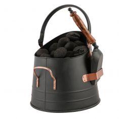 Black Copper Detailed Coal Bucket with Scoop