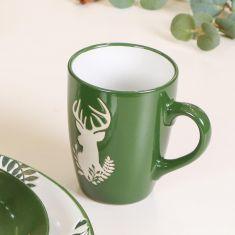 Set of 4 Green Stoneware Reindeer Mugs