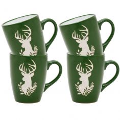 Set of 4 Green Stoneware Reindeer Mugs