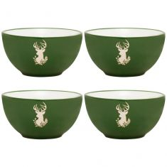 Set of 4 Green Stag Stoneware Bowls
