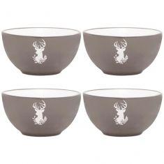 Set of 4 Stoneware Grey Stag Bowls
