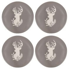 Set of 4 Stoneware Grey Stag Side Plates