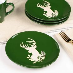 Set of 4 Green Stag Stoneware Side Plates