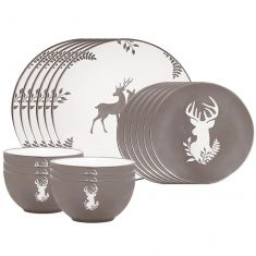 18 Piece Grey Stag Stoneware Dinner Set