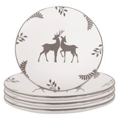 Set of 4 Grey Stag Stoneware Dinner Plates