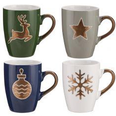 Set of 4 Metallic Gold Detailing Christmas Mugs