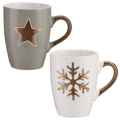 Set of 2 Metallic Gold Star and Snowflake Christmas Mugs