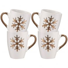 Set of Four Twinkling White Snowflake Mulled Wine Mugs