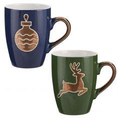 Set of 2 Metallic Gold Reindeer and Bauble Christmas Mugs