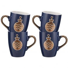 Set of Four Twinkling Blue Bauble Mulled Wine Mugs