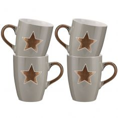 Set of Four Twinkling Grey Star Mulled Wine Mugs