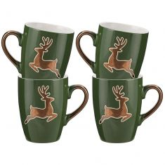 Set of Four Forest Green Prancing Reindeer Mulled Wine Mugs