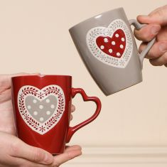 Pair of Country Heart Mugs