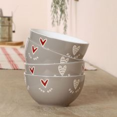 Set of 4 Country Heart Bowls