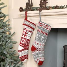 Traditional Nordic Fair Isle Knitted Stockings