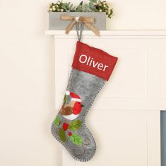 Personalised Nordic Style Robin Christmas Stocking