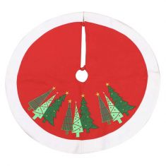 Red Embroidered Christmas Tree Skirt