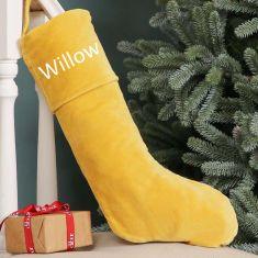 Personalised Yellow Velvet Christmas Stocking