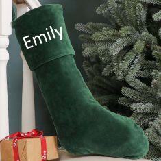 Personalised Green Velvet Christmas Stocking