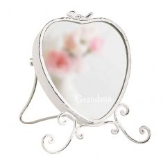 Personalised Vintage Bird Heart Shaped Dressing Table Mirror