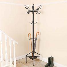 Traditional Black Metal Freestanding Coat Stand