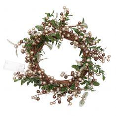 Copper Mistletoe Light Up Christmas Wreath 15
