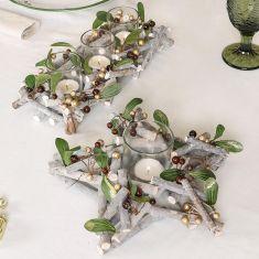 Copper Mistletoe Tabletop Tea Light Holders