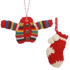 Set of 2 Fairtrade Hand Knitted Jumper & Stocking Tree Decorations