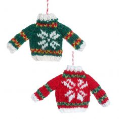 Set of 2 Fairtrade Hand Knitted Jumper Tree Decorations