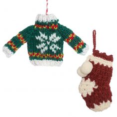Set of 2 Fair Trade Knitted Christmas Tree Decorations